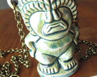 Blue Tiki Ceramic Neckles