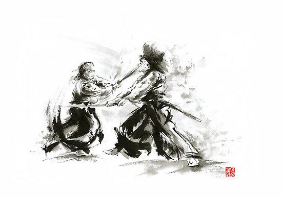 Samurai wild fight old japan bushido by Mariusz Szmerdt